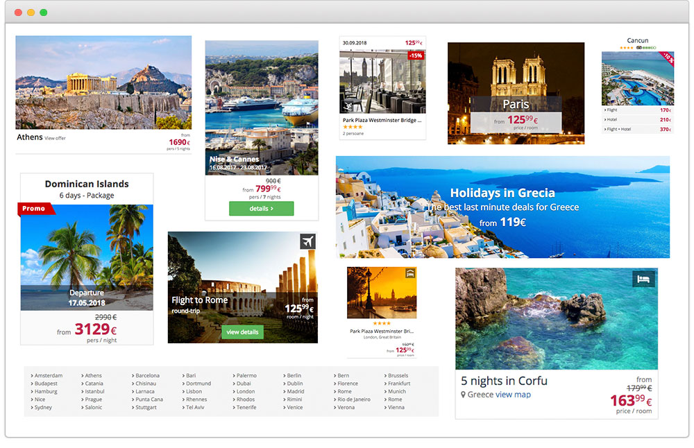 Over 30 visual elements to build with with Travitude travel booking system