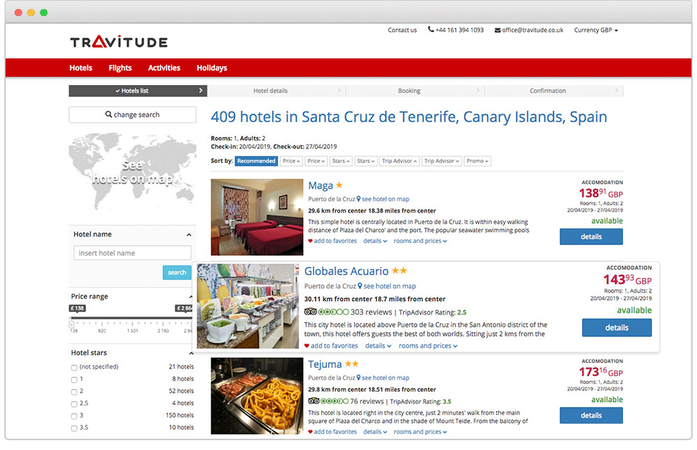 Descriptions and photos for hotels with Travitude travel booking system