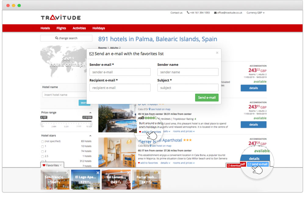 Easily send bespoke offers to customer's email with Travitude travel booking system